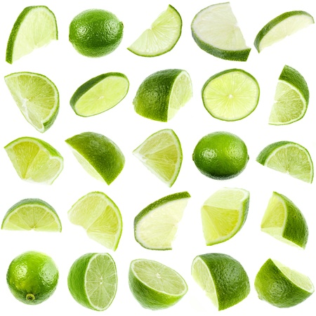 lime green background: collection set of close up slices green lime isolated on white background