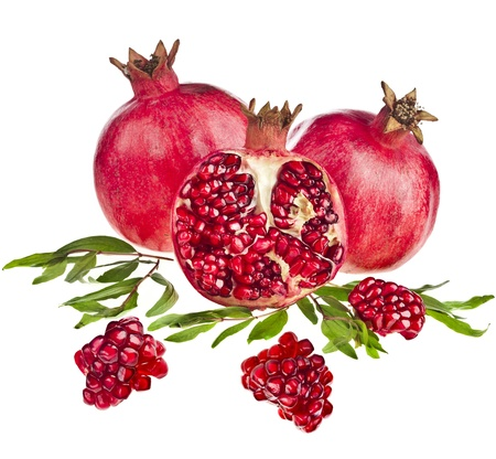 pomegranates: Pomegranate isolated on the white background Stock Photo
