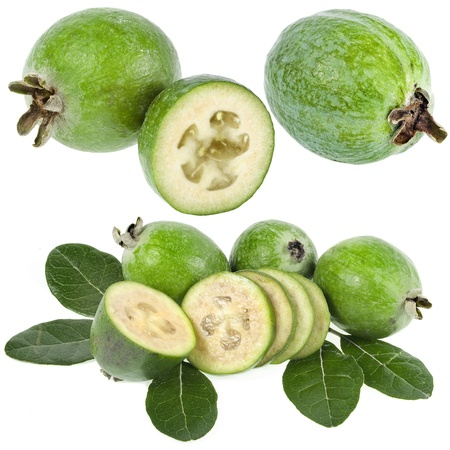 iodine: Collection set of Feijoa  Acca sellowiana  - Pineapple Guava isolated on white background Stock Photo