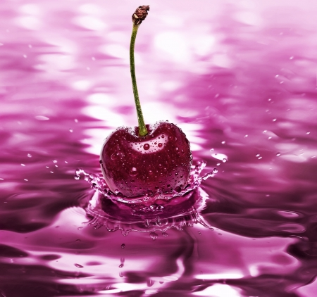 wasser: cherry drink surface close up  Stock Photo