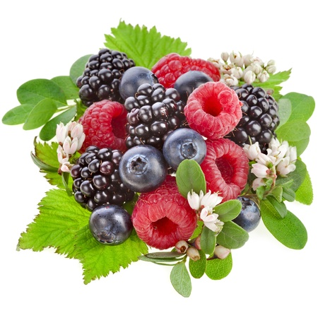 Frutas del bosque frescas con flores aisladas sobre un fondo blanco Foto de archivo