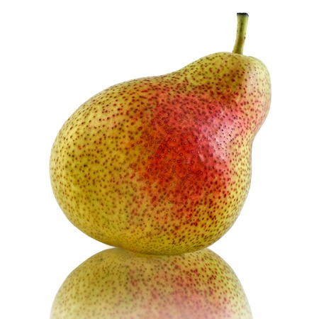 single fresh pear isolated on white background photo