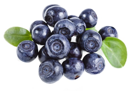 blackberry fruit: fresh blueberry heap closeup macro isolated on a white background Stock Photo