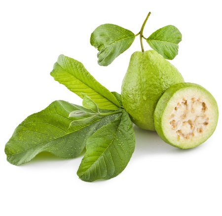 guava: Fresh Guava fruit with leaves on white background