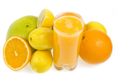 fresh juice from citrus fruit   isolated on white background photo