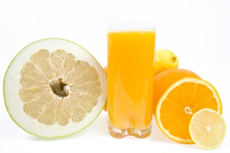 citrus maxima: fresh juice from citrus fruit isolated on the white background