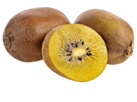 yellow gold fresh kiwi fruits isolated on a white background photo