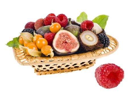 lichee: multifruit in the basket isolated on white