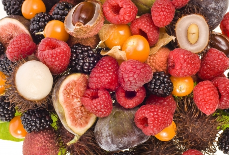 lichee: Exotic and tropical different fruit and berries