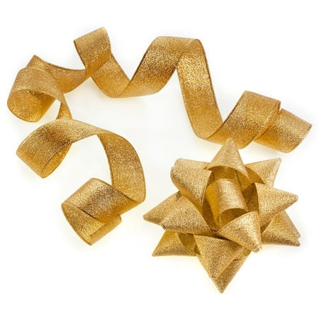 lacet: Beautiful glitter gold ribbon tape curl with bow isolated on white background