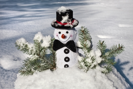 Cute Christmas snowman in snowy hill ball outdoors photo