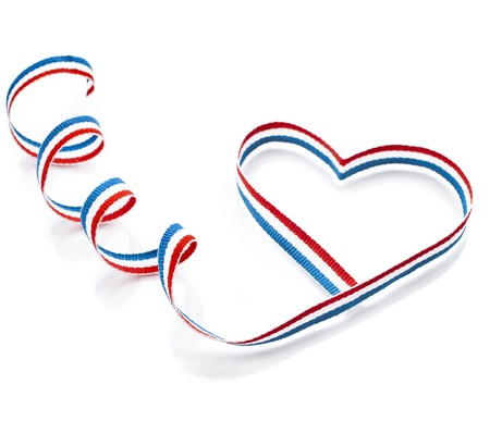 dutch flag: Colors Ribbon Tape Shape Heart Valentine s Day Card close up isolated on white background