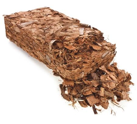 husk: Coconut Husk Bloquear chip aislado sobre fondo blanco