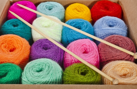 multi-colored balls of wool knitting yarn in a cardboard box photo