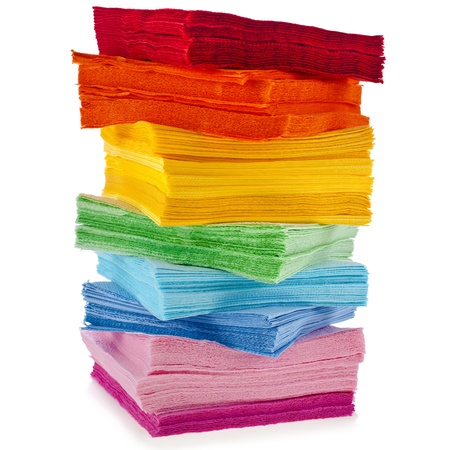 colored paper: tower serving colored paper napkins isolated on white background Stock Photo