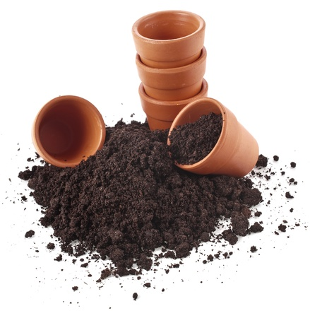 clay pot: gardening flowerpot and soil heap isolated on a white background
