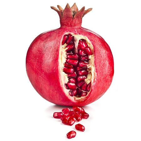 One Pomegranate fruit close up isolated on white background photo