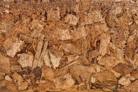 turba: Coco coco Husk fibra virutas Textura de la superficie cerca de fondo Foto de archivo