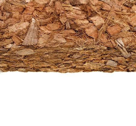 husk: Coconut Coir Husk Fiber Chips Surface border close up isolated on white background Stock Photo