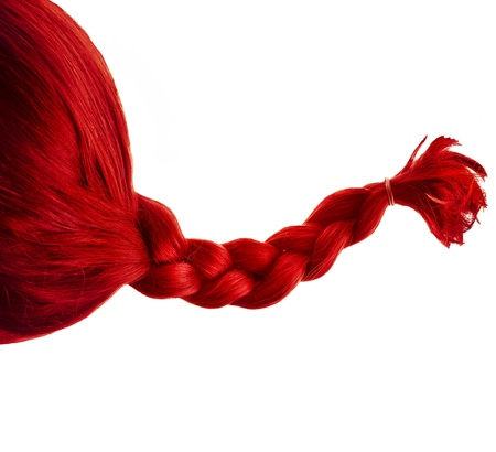 colored natural hair braided isolated on white background photo
