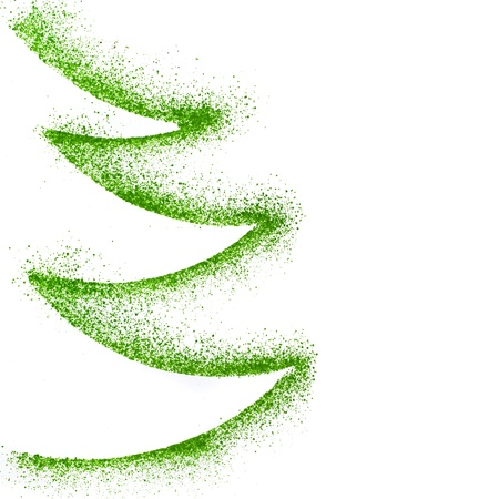 christmas fun: Christmas tree drawing decor with copy space isolated on white paper background