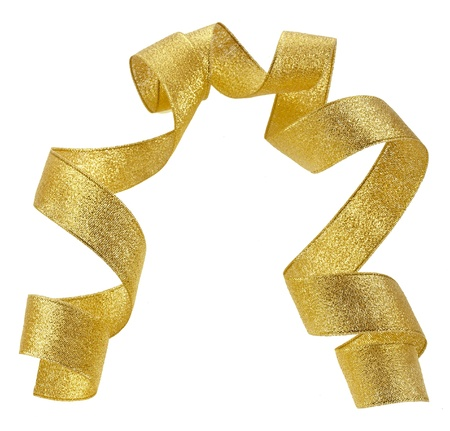 lacet: Beautiful glitter gold ribbon tape curl isolated on white background