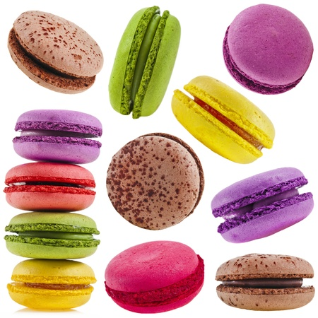 collection set of Colorful assorted macaroons isolation on a white background Stock Photo - 20509410
