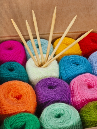 colorful thread balls of knitting yarn in a cardboard box photo