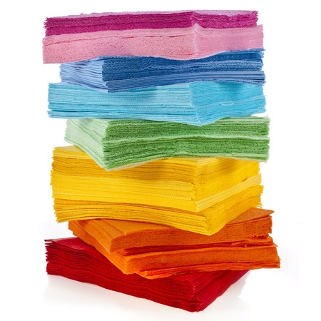tower serving colored paper napkins isolated on white background 版權商用圖片