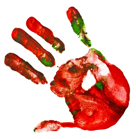 Multicolored hand print isolated on a white background photo