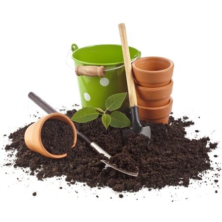 ollas de barro: herramientas de jardiner?a y pl?ntulas en la superficie del suelo aislado en un fondo blanco Foto de archivo