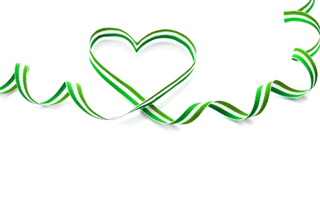 ribbon tape: Green Stripe Ribbon Tape Shape Heart Valentine s Day isolated on white background