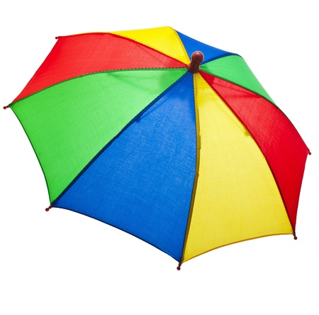 colored striped umbrella isolated on a white background photo