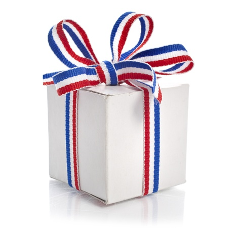 Present White Box Wrap Stripe Ribbon Bow isolated on white background photo