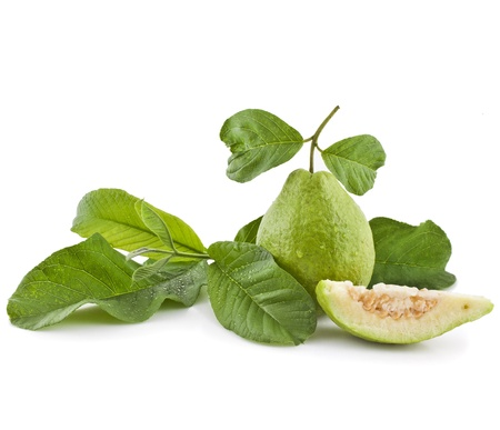 Fresh Guava fruit with leaves on white background photo