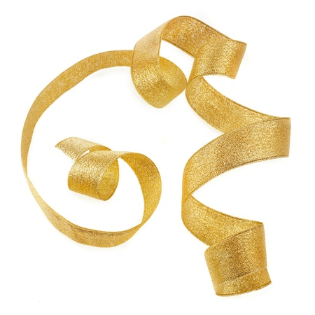 ribbon tape: Beautiful glitter gold ribbon tape curl isolated on white background
