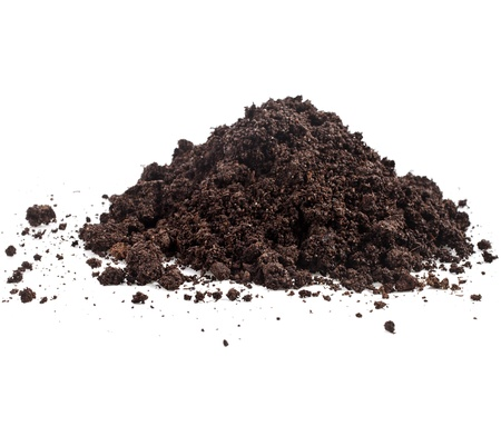 dirt pile: Pile heap of soil humus isolated on white background
