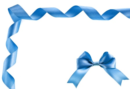 lacet: Border card of ribbon bow tape or wavy line on white with copy space for text