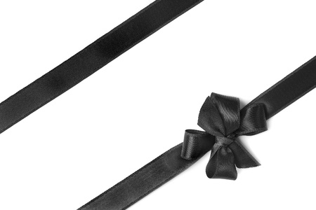 Black ribbon isolated on white background Stock Photo
