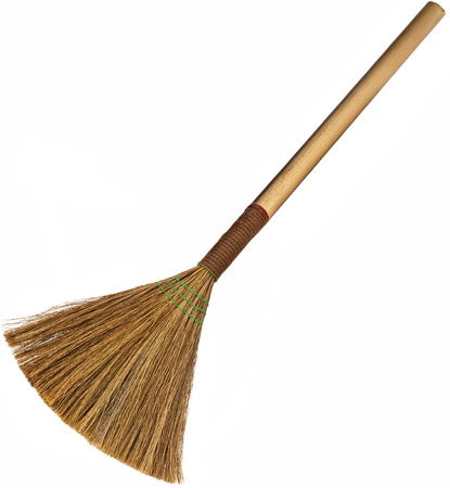 broom isolated on white background photo