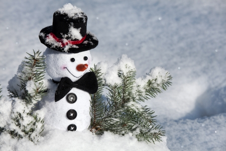 Happy Christmas snowman in snow photo
