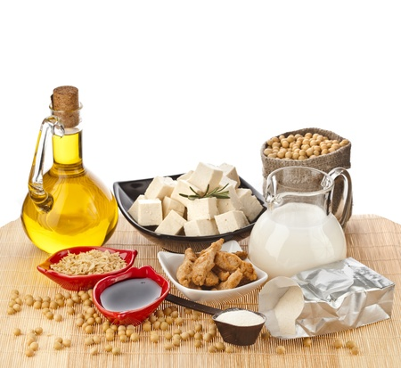 Soy products   oil, milk, tofu, meat, sauce, isolated on white background photo