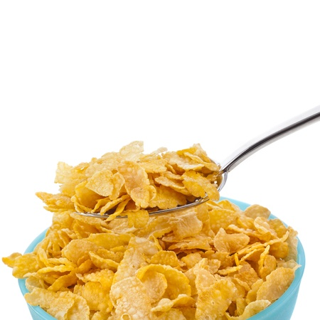 cornflakes: bowl of corn flakes isolated on the white backgound