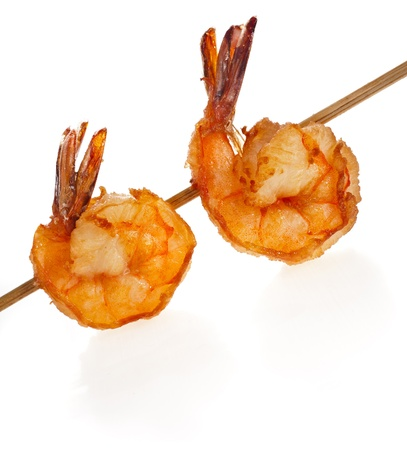 prawn skewers: Grilled Shrimps on stick isolated on white background