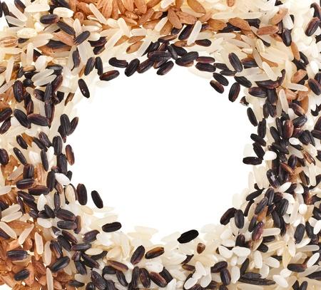 Border Frame of mixed rice close up Isolated on White Background photo