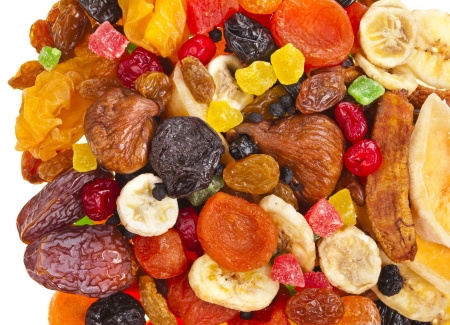 mixed fruits: mixed dried fruits collection top view surface on white background Stock Photo