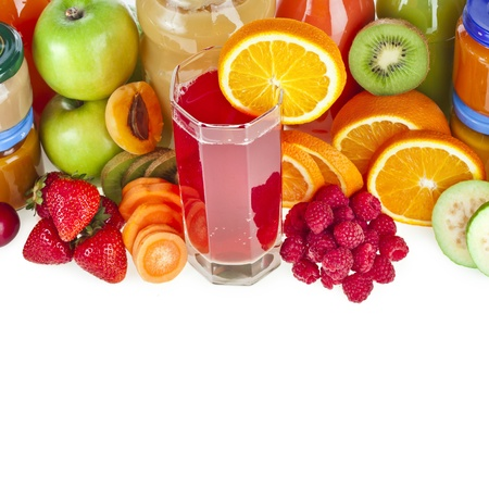 Colorful Bottles juice with fresh berries and fruits isolated on white background photo