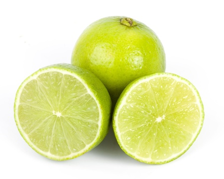 healthy green lime fruit, isolated on white photo