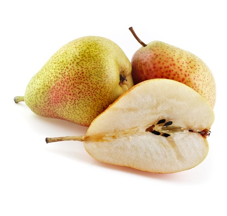 ripe pears isolated on white photo