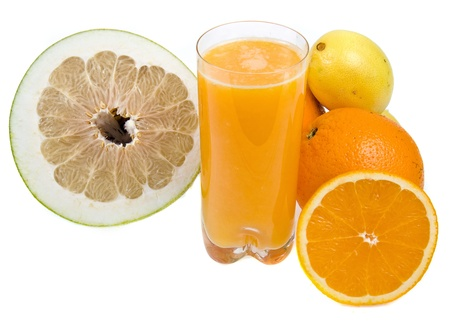 citrus maxima: fresh citrus juice isolated on the white background
